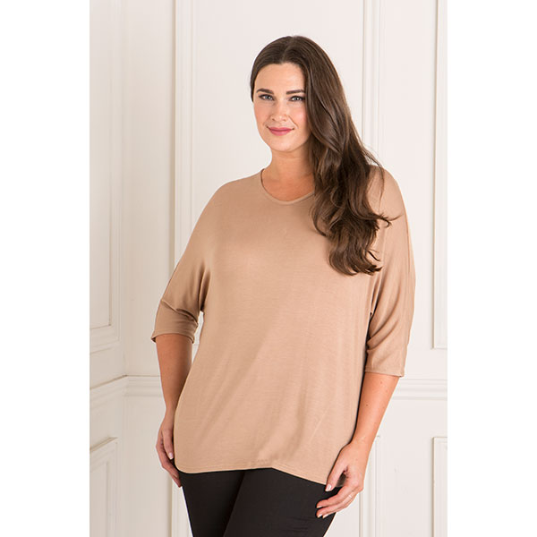 Nicole V-Neck 3/4 Sleeve Top Camel