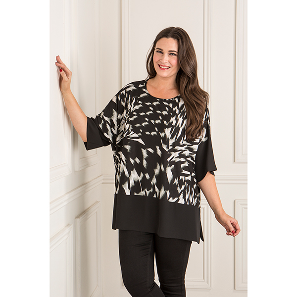 Anamor Print Chiffon Trim Top Black/White Print