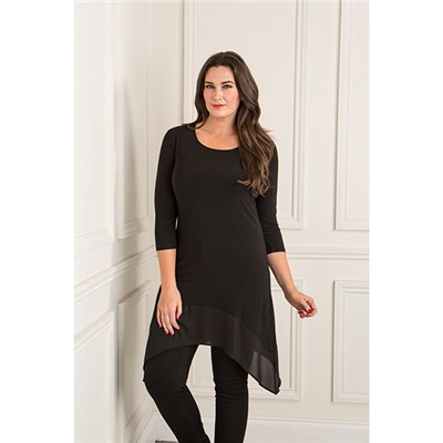 Anamor Chiffon Trim Tunic Top