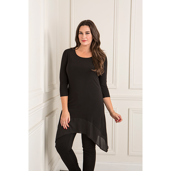 Anamor Chiffon Trim Tunic Top Black