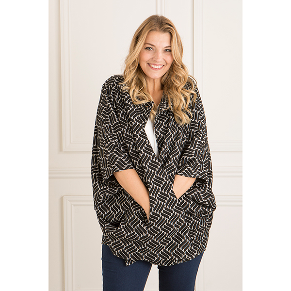 Anamor Cape Jacket Black/White