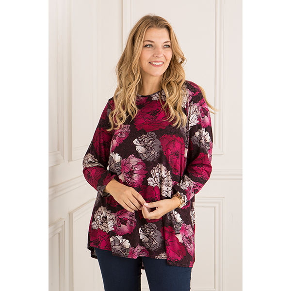 Anamor Print Dip Back Top Lace Rose
