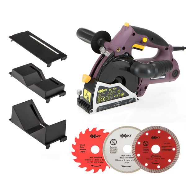 Exakt Deep Cut Plunge Saw with 3 Blades, Small and Large Pipe Attachments and Protector Plate No Colour