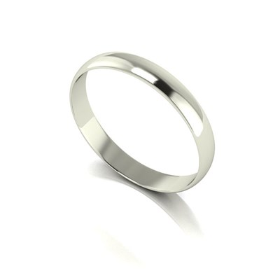 9ct White Gold D Shaped Wedding Ring 3mm