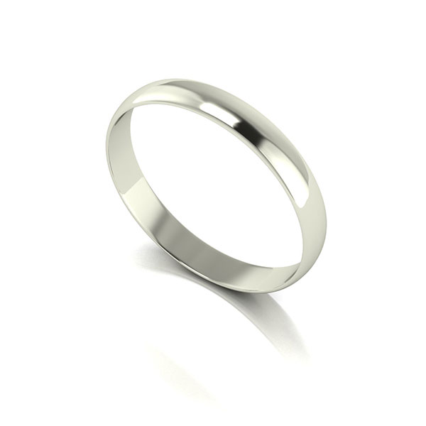 9ct White Gold D Shaped Wedding Ring 3mm White Gold