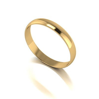 9ct Yellow Gold D Shaped Wedding Ring 3mm