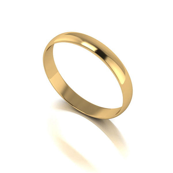 9ct Yellow Gold D Shaped Wedding Ring 3mm Yellow Gold