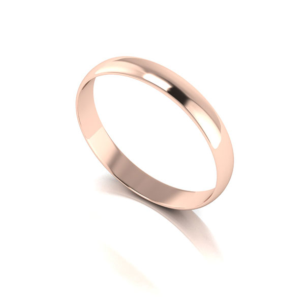 9ct Rose Gold D Shaped Wedding Ring 3mm Rose Gold
