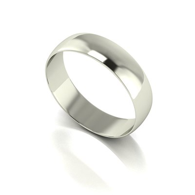 9ct White Gold D shaped Wedding Ring 5mm