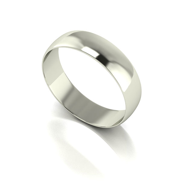 9ct White Gold D shaped Wedding Ring 5mm White Gold
