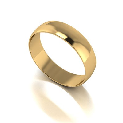 9ct Yellow Gold D shaped Wedding Ring 5mm