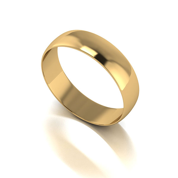 9ct Yellow Gold D shaped Wedding Ring 5mm Yellow Gold
