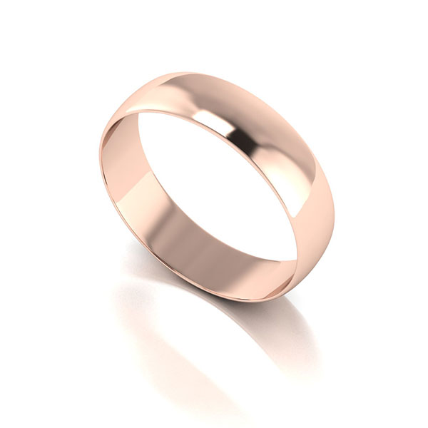 9ct Rose Gold D Shaped Wedding Ring 5mm Rose Gold