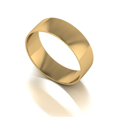 9ct Yellow Gold Court Shaped Wedding Ring 6mm