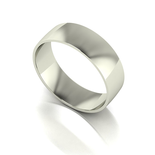 9ct White Gold Court Shaped Wedding Ring 6mm White Gold