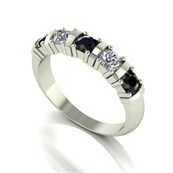 Moissanite 9ct Gold 1.00ct eq 5 Stone Ring with Sapphire Stones