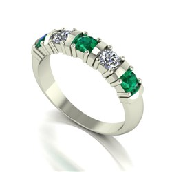 Moissanite 9ct Gold 1.00ct eq 5 Stone Ring with Emerald Stones