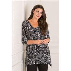 Reflections 3/4 Sleeve Print Ruched Front Top