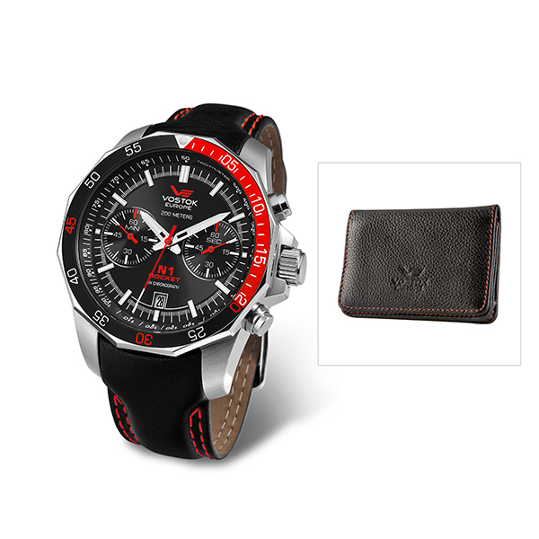 Vostok Europe Gents Rocket N1 Chronograph Watch with Leather Strap and FREE Vostok Credit Card Holder Red