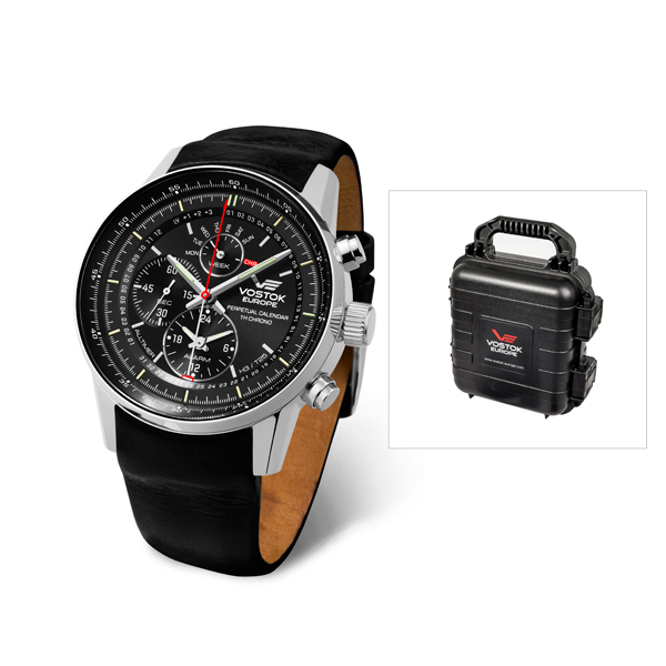 Vostok Europe Gents GAZ-14 All Timer Watch with Leather Strap and Vostok 4 Slot Dry Box Black