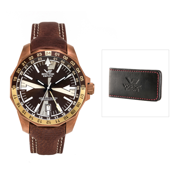 Vostok Europe Gents Radio Room Automatic Watch with FREE Money Clip Bronze
