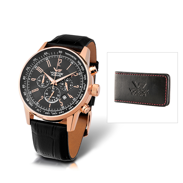 Vostok Europe Gents Quartz Gaz-14 Chronograph Watch with Leather Strap and Vostok Money Clip Rose Gold