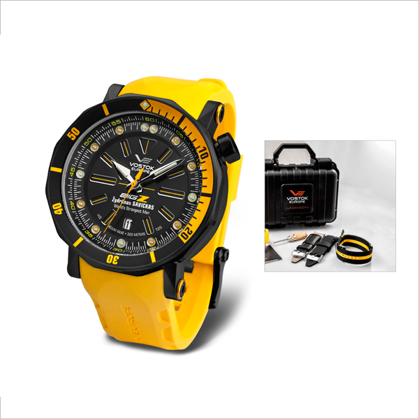 Vostok Europe Gent's Big Z Lunokhod 2 Automatic Watch with Four Interchangeable Straps Yellow