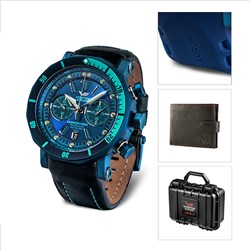 Vostok Europe Gents Lunokhod 2 Chronograph Watch with Black PVD Plated Case and Interchangeable Straps in Dry Box with Tool and FREE Vostok Wallet