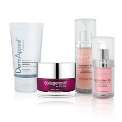 Skinn Collagenesis Collection - Rose Noir Balm 30ml, Dermappeal 57ml, Stem Regen Facial Serum 33ml, Stem Regen Eye Serum 15ml