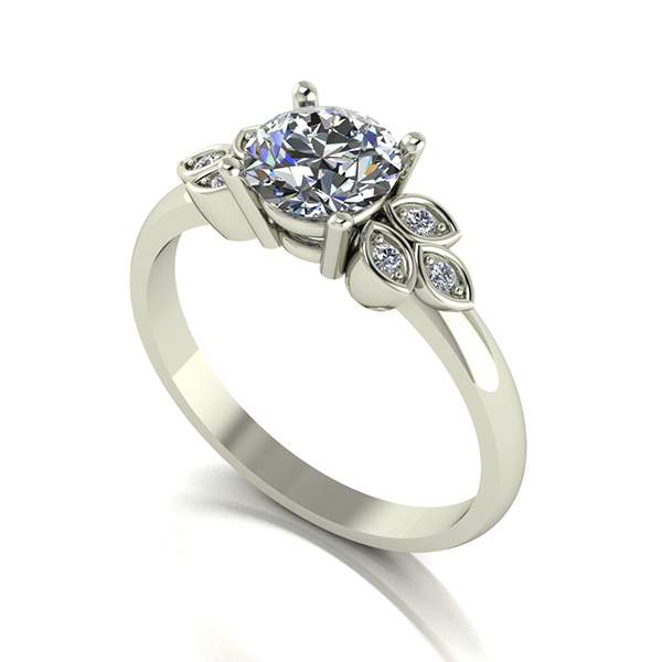 Moissanite 9ct Gold 1.07ct eq Solitaire with Leaf Detail Ring White Gold