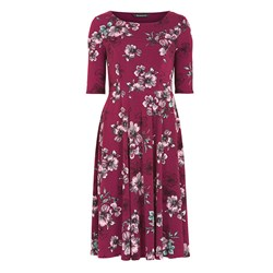 Women's Dresses & Skirts Bonmarche Vintage Floral Jersey Fit and Flare Dress 40in