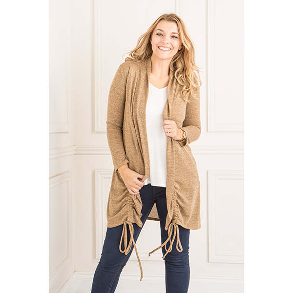 Nicole Ruched Side Cardigan Camel