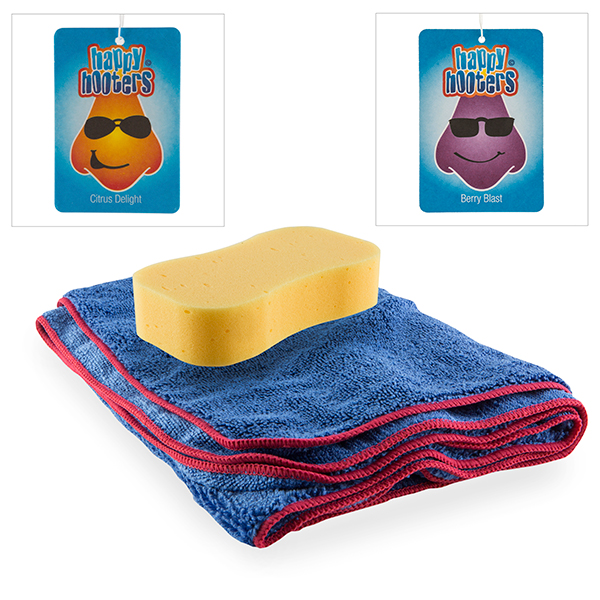 Car Cleaning Kit - Sponge, Drying Towel and 2x Air Fresheners No Colour