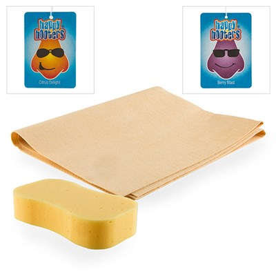 Car Cleaning Kit - Sponge, Synthetic Chamois and 2 x Air Fresheners