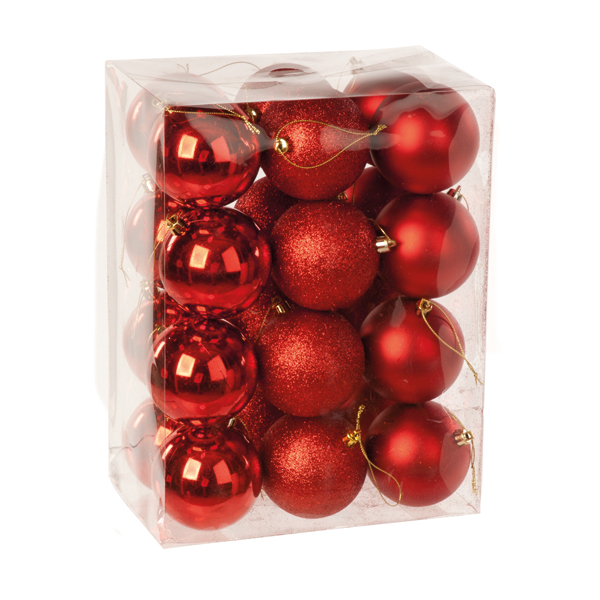 24 x Various Baubles in a Box - Red No Colour