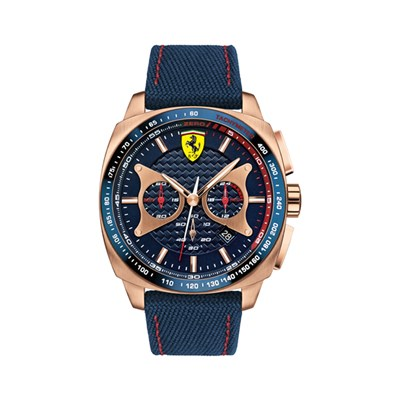 Scuderia Ferrari Gents Aero Evo with Blue Woven Fabric Strap