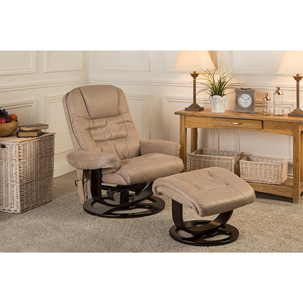 The Furniture Collection Vancouver Swivel Massage and Heat Recliner Chair and Stool Taupe