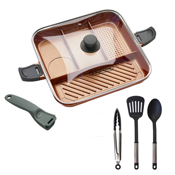 Quadrapan With 3 Piece Utensil Kit Set No Colour