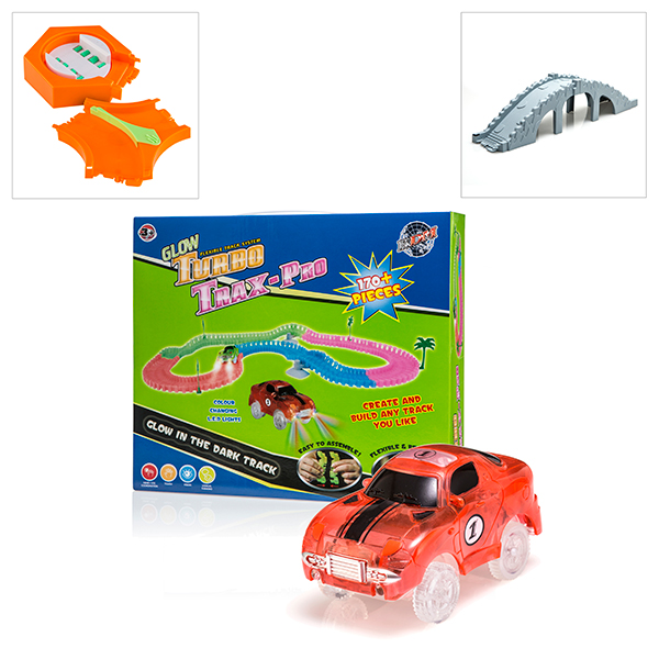 Turbo Trax Pro with FREE Additional Bridge and Track and 360 Turner with Track Split Orange