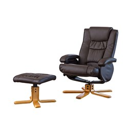 The Furniture Collection Chalford Bonded Leather Swivel Massage Recliner Chair and Stool with Heat