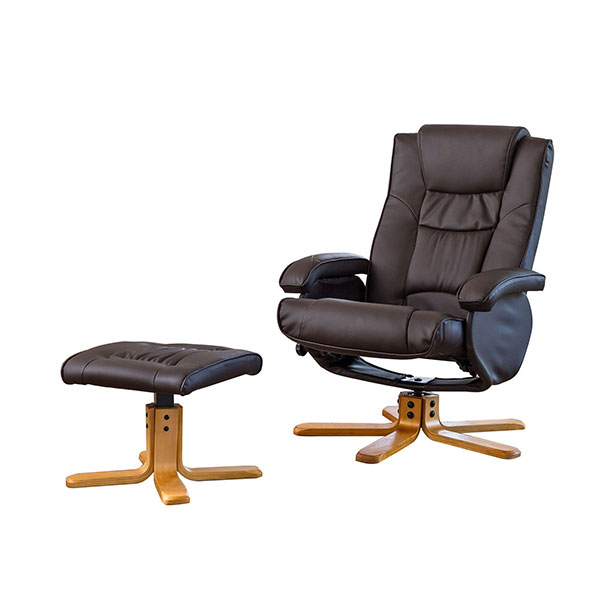 The Furniture Collection Chalford Bonded Leather Swivel Massage Recliner Chair and Stool with Heat Brown