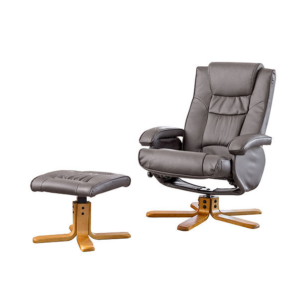 The Furniture Collection Chalford Bonded Leather Heat Massage Swivel Recliner Chair With Stool