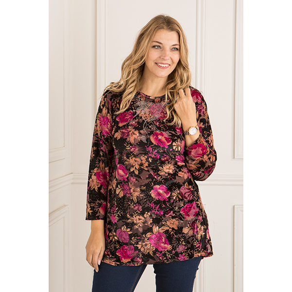 Fionalissa Burn Out Velour Printed Tunic Purple/Black Floral