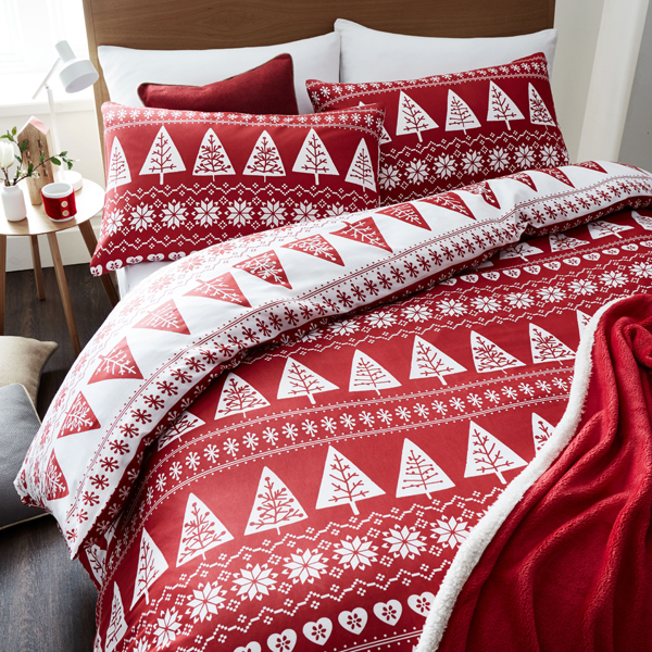 Nordic Trees Quilt Set Single Size Red