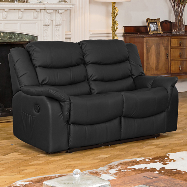 The Furniture Collection - Lincoln Bonded Leather Manual Recliner Two Seat Black