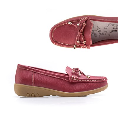 Cushion Walk Comfort Tie Detail Leather Loafer