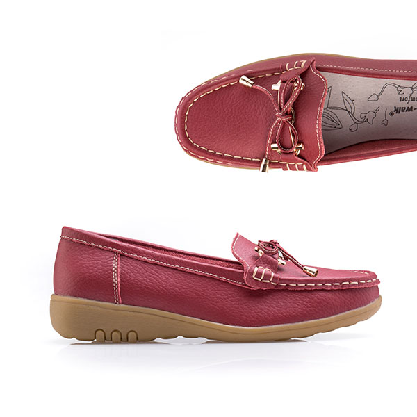 Cushion Walk Comfort Tie Detail Leather Loafer Red