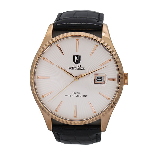 Hugo Schwarze Gent's Classic Watch with Leather Strap White/Rose Gold