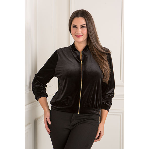 Emelia Velour Bomber Jacket Black