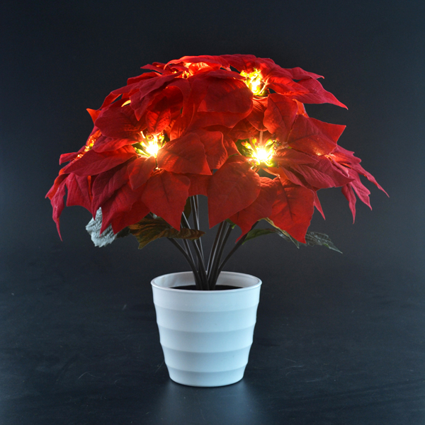 Christmas 9 light Red Poinsettia in Pot No Colour